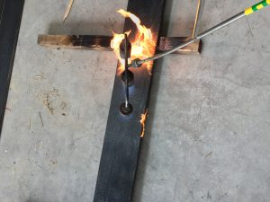 Torching the accoya timber to achieve the Shou Sugi Ban finish